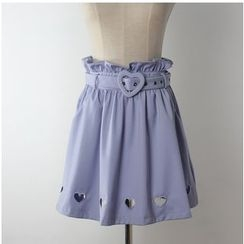 GOGO Girl - Heart Cutout A-Line Skirt with Belt