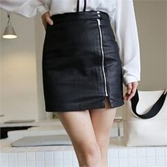 QNIGIRLS - Zip-Front Mini Skirt