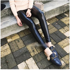 Bloombloom - Faux Leather Leggings