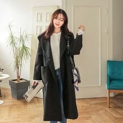 Seoul Fashion - Wide-Lapel Wool Blend Long Coat with Sash