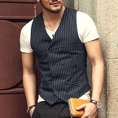 Mannmix - Pinstriped Double-breasted Vest