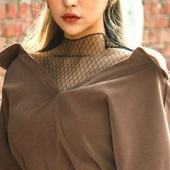 chuu - Mock-Neck Sheer Mesh Top