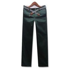 Seoul Homme - Plain Flat-Front Pants