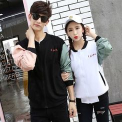 belle epoque - Couple Matching Color Panel Zip Jacket