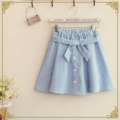 Fairyland - Plaid Belted Mini Skirt