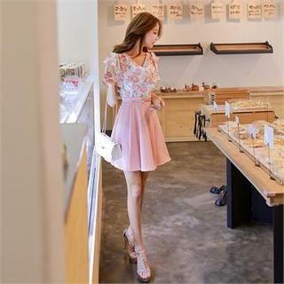 Babi n Pumkin - Floral Print Mock Two-Piece Dress