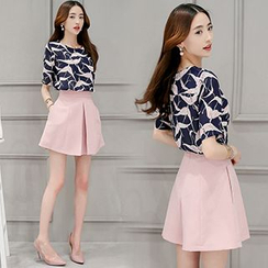 Ashlee - Set: Print Short Sleeve Blouse + Culottes