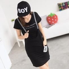 59 Seconds - Set: Short-Sleeve Lettering T-Shirt + Suspender Skirt