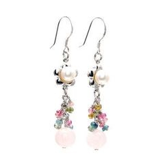 Bellini - Pearl Tourmaline Rose Quartz Drop Earrings