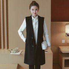 Munai - Double-Breasted Long Vest