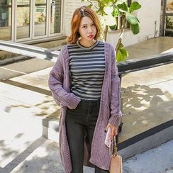 Seoul Fashion - Open-Front Long Cable-Knit Cardigan