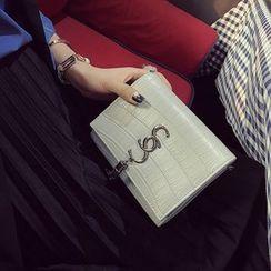 Diamante - Embossed Faux Leather Shoulder Bag