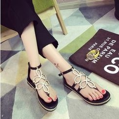 BAYO - Metallic Ankle Strap Sandals