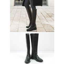 REDOPIN - Banded Faux-Leather Long Boots