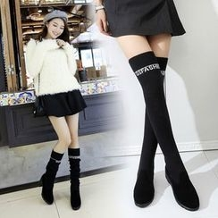 Yoflap - Lettering Chunky Heel Over-the-Knee Boots