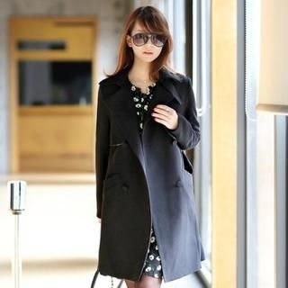 Jcstyle - Double-Breasted Trench Coat with Sash