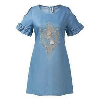 JVL - Cutout-Sleeve Embroidered Denim Dress