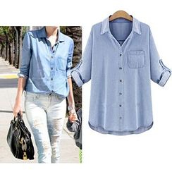 VIZZI - Tab-Sleeve Denim Shirt