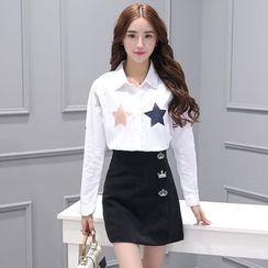 Sienne - Set: Star Print Shirt + Crown Embroidered Skirt