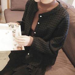 mimi&didi - Faux-Fur Button Wool Blend Waffle-Knit Cardigan