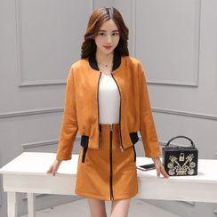伊之戀 - 套裝: 仿麂皮拉鏈外套 + 前拉鏈裙
