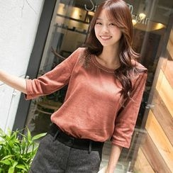 OrangeBear - 3/4-Sleeve Studded Top