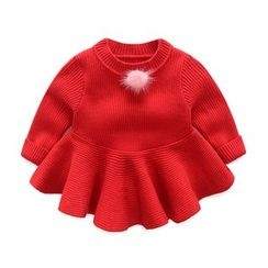 MOM Kiss - Baby Bobble Long-Sleeve Knit Dress