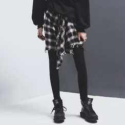 Sonne - Mock Two-Piece Plaid-Skirt Leggings