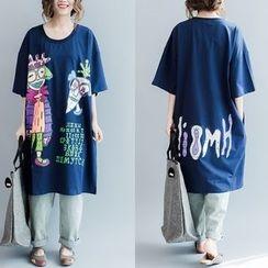 Epoch - Elbow-Sleeve Printed T-Shirt Dress
