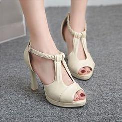 Megan - Braided Strap High-Heel Sandals