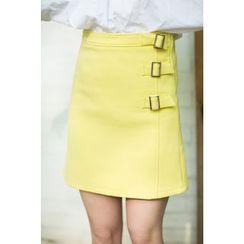 SUYISODA - Buckled A-Line Skirt