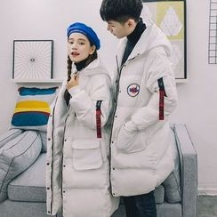 Simpair - Couple Matching Patch Embroidered Long Padded Jacket