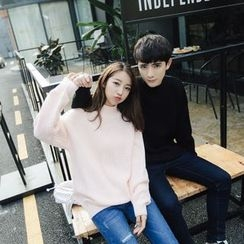 Simpair - Couple Matching Mock Neck Ribbed Sweater