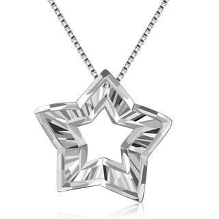 MaBelle - 14K White Gold Cut-Out Star With Diamond-Cut Necklace (16'), Women Jewelry in Gift Box