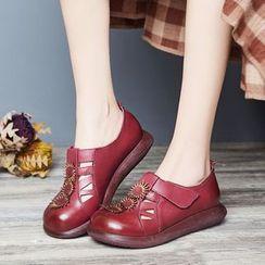 LARKSPUR - Genuine Leather Velcro Platform Shoes