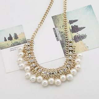 Love Generation - Rhinestone & Faux Pearl Chain Necklace