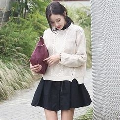 JVLLY - Dip-Back Cable-Knit Top