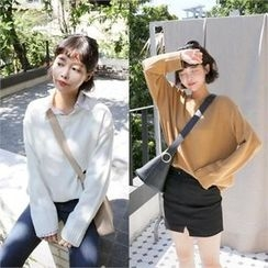 QNIGIRLS - Round-Neck Colored Knit Top
