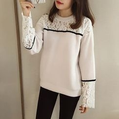 Little V - Lace Panel Pullover