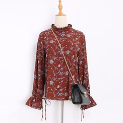 Katie Bloom - Floral Print Frill Collar Long Sleeve Chiffon Blouse