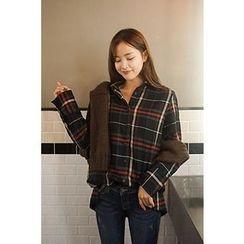 CHERRYKOKO - Wide-Cuff Wool Blend Plaid Shirt