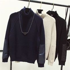 Honey House - Color Panel Mock Neck Sweater
