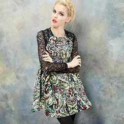 ELF SACK - Lace-Sleeve Printed A-Line Dress