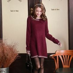 Tokyo Fashion - Long-Sleeve Bow-Accent Knit Dress