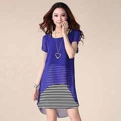 Emeline - Set: Short-Sleeve Chiffon Blouse + Strappy Striped Dress