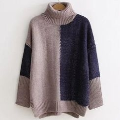 Angel Love - Turtleneck Color Panel Sweater