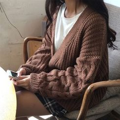 Anlay - Loose-Fit Batwing-Sleeve Cable-Knit Cardigan