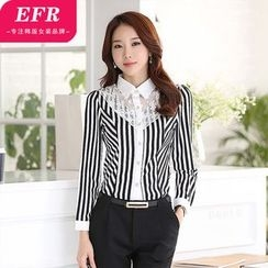 Eferu - Perforated Pinstriped Lace Panel Blouse