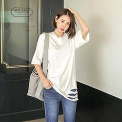Seoul Fashion - Elbow-Sleeve Distressed Cotton T-Shirt