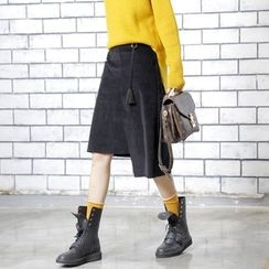 Sonne - Asymmetric Corduroy Midi Skirt